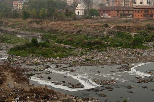 This is the state the Bagmati River is in once it hits Kathmandu