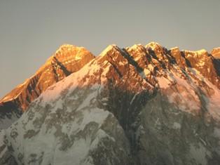 Sunset over Everest seen from Lobuje Peak