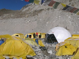 "A view of our base camp, including the ""Whitepod"""