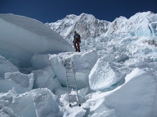 Descending through the icefall on our way back to base camp