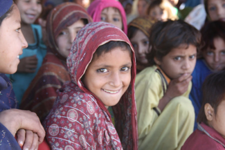 A girl in one of the eight schools that are operating in Jalozai Camp