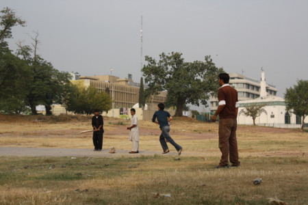 Young men playing cricket in a field near the Parliament.