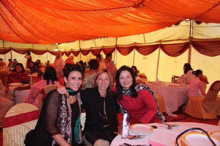 From left: Ale, Billi and Susan in the female tent at the wedding