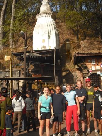 Moire, Rajman, Billi, Richard, Roger and Bhimsen at the Surya Binayak Temple (Moire O'Sullivan)