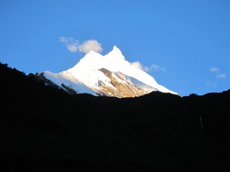 Manaslu early in the morning from samagaon