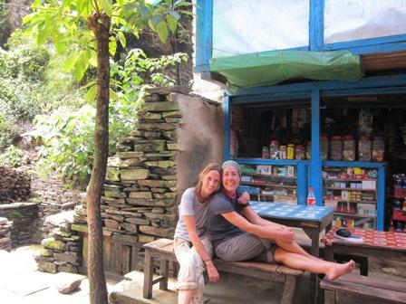 Monica and Billi taking a rest on the Manaslu trekking trail