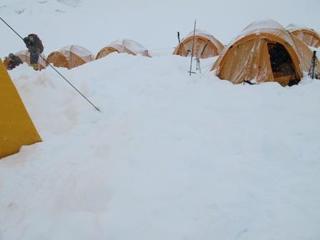Manaslu Camp I in the snow