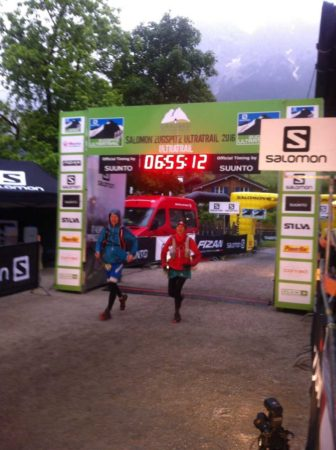 Attempting to run across the finishing line.
