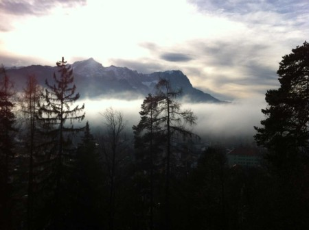 The Garmisch mountains in the mist before the snow came on Christmas Day