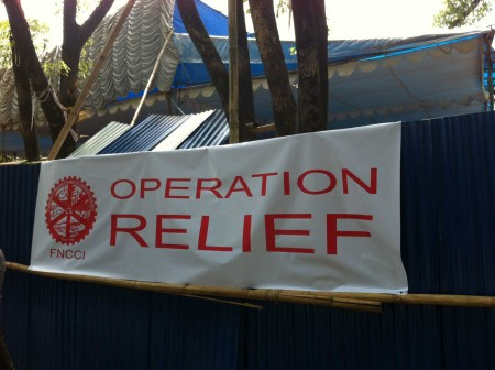 Operation Relief - distribution centre in Kathmandu supported by PHASE