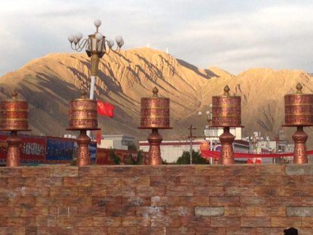 Prayer wheels in Shigatse