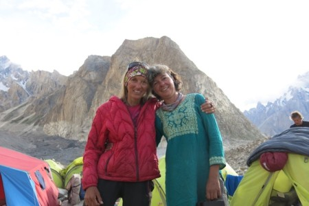 Rochelle - my only fellow female climber - and I on our trek to Askole