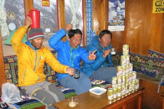 The Japanese connection (Kazu, Hiro and Shinji) having fun in Dingboche