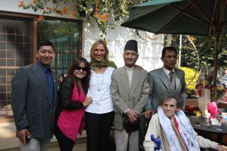 Bhawan, Namita, I, Jeevan and Suban with Miss Hawley at her birthday